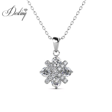 Destiny Jewellery Crystals from Swarovski Jewelry Set with 18k White Gold Plated, Pendant Earrings Set Charm Snowflake Shape Design for Women - image 1 of 9