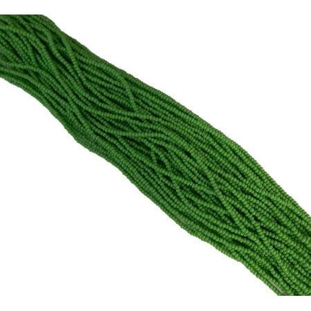 Green Opaque Czech 11/0 Glass Seed, Loose Beads, 1 Full Hank Preciosa
