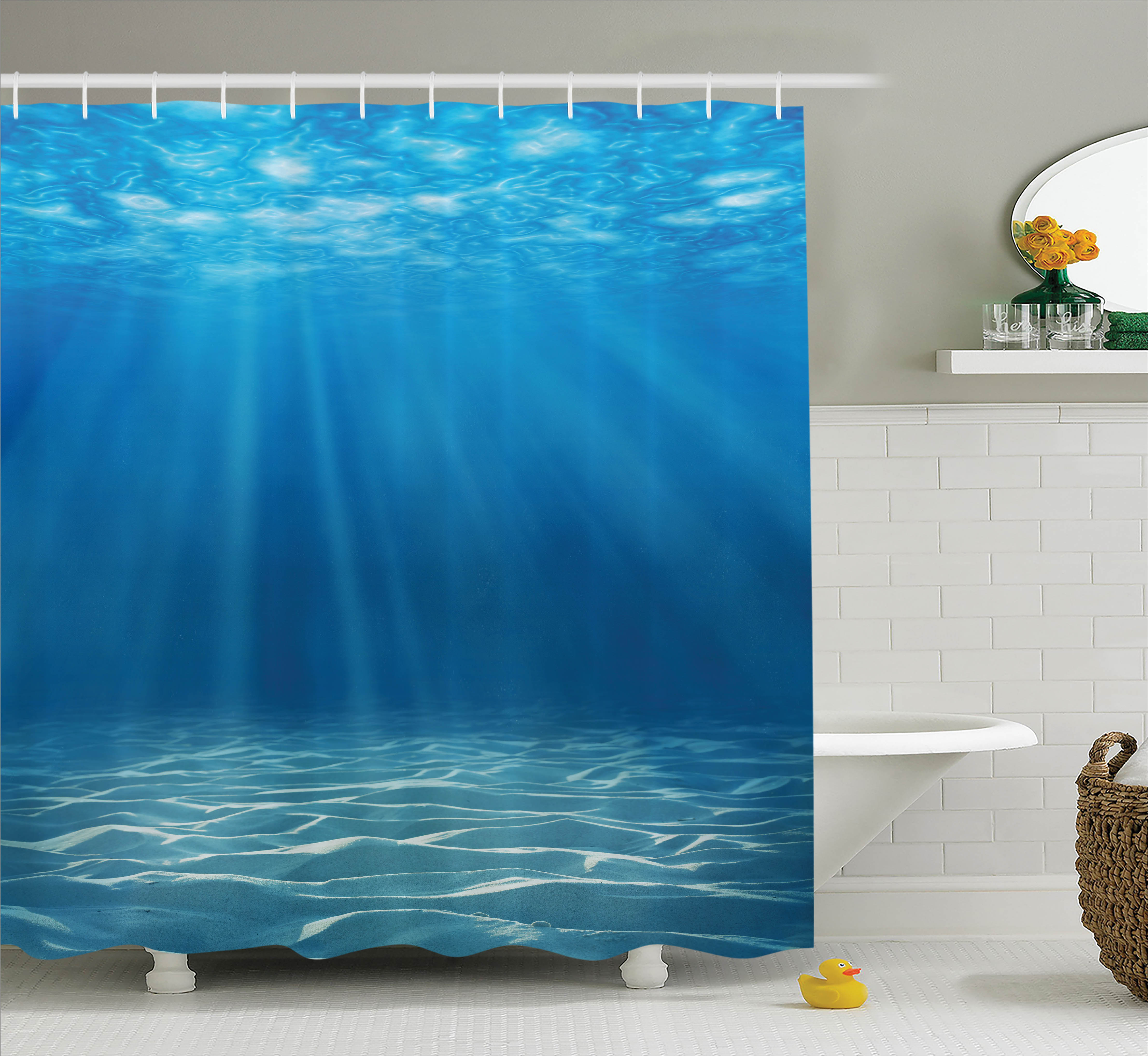 Shower Curtain Set, Sunlight Bursting into Deep Under Sea Wilderness Scenery Waterscape Picture Print, Bathroom Decor,  Blue Turquoise, by Ambesonne