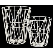 2-Pc Metal Round Tapered Basket in White