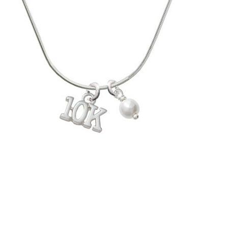 10K - Imitation Pearl Bicone Crystal Necklace