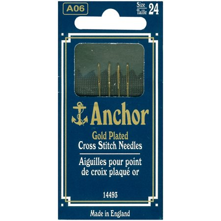 Anchor Gold-Plated Cross Stitch Needles-Size 24