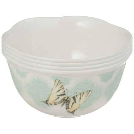 Lenox Butterfly Meadow Trellis Dessert Bowl (Set of 4), White Lenox Covered Vegetable Bowl