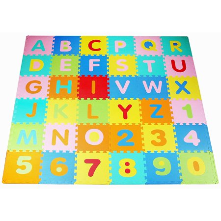 Alphabet Squares Mat (BalanceFrom Kid's Puzzle Exercise Play Mat with EVA Foam Interlocking Tiles )