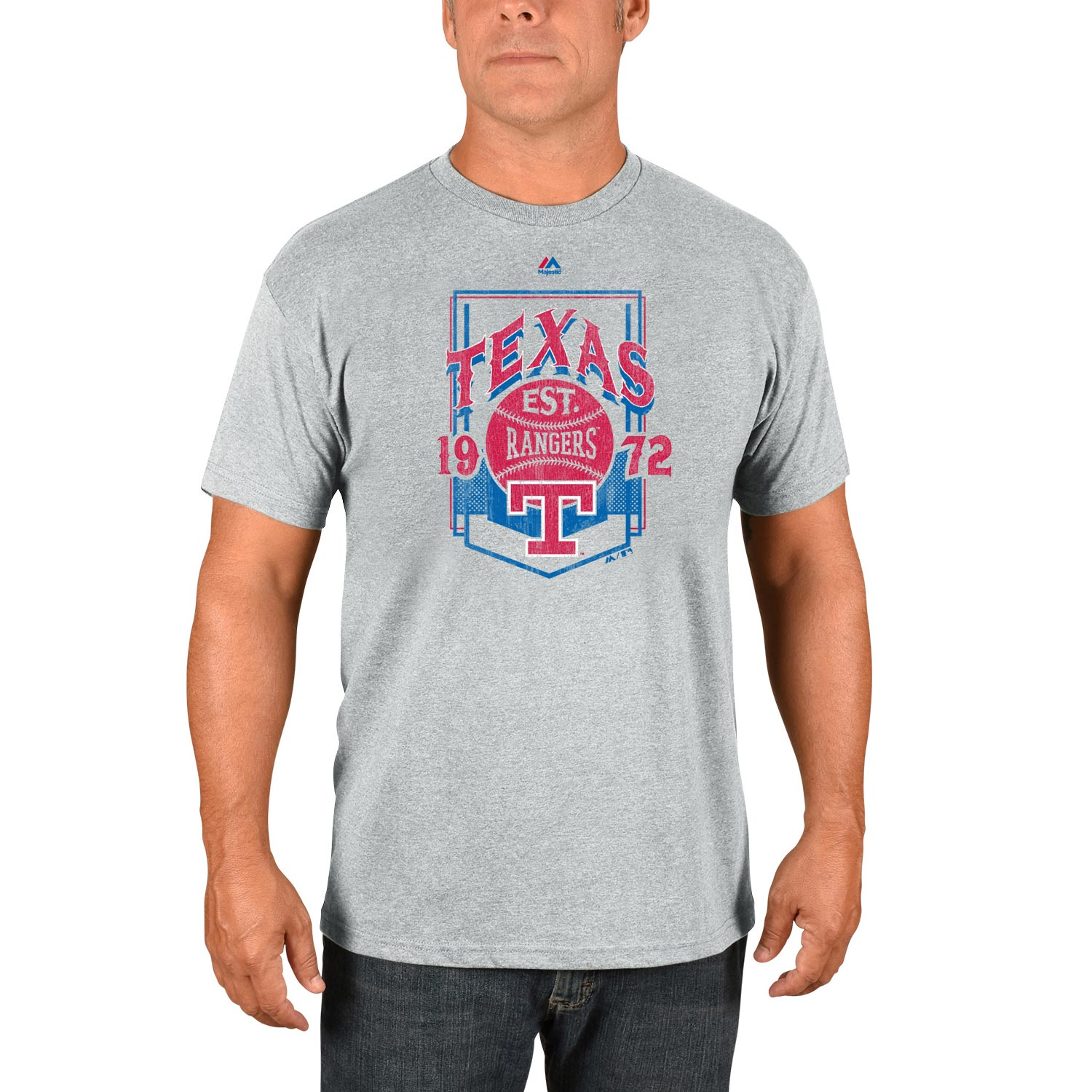Texas Rangers Majestic Cooperstown Collection Vintage Style T-Shirt - Gray