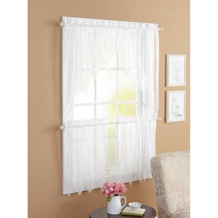 Better homes and gardens 3pc lace window set white Better homes and gardens valances for small windows