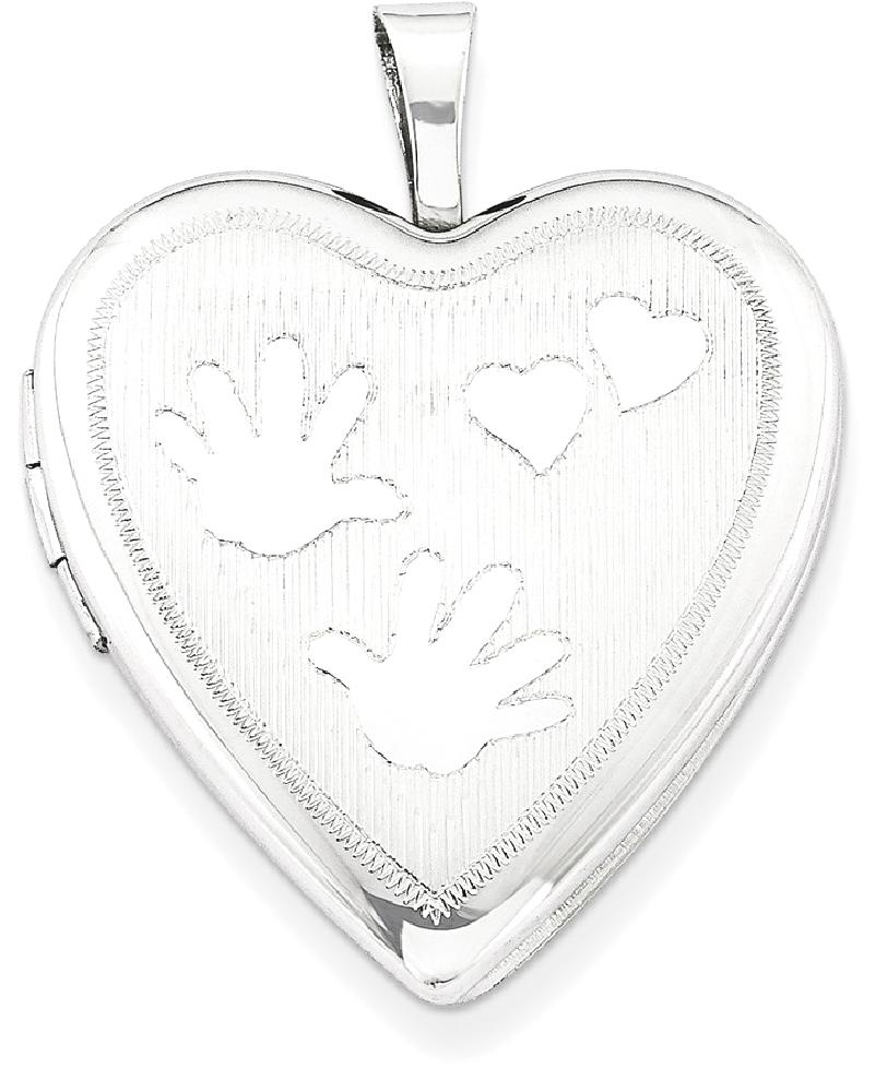 ICE CARATS ICE CARATS 925 Sterling Silver 20mm Handprints Heart Photo Pendant Charm Locket Chain Necklace That Holds... by IceCarats Designer Jewelry Gift USA