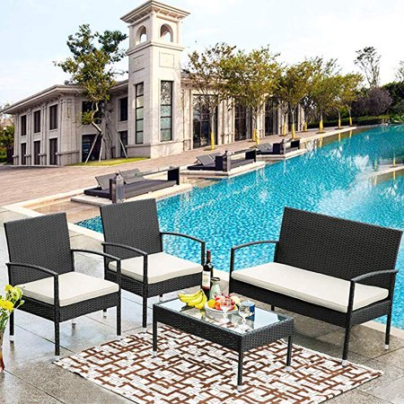 CLEARANCE! Beige Wicker Patio Furniture Sets, 2019 Upgrade 4-Piece Wicker Patio Conversation Sets w/Loveseat Seats, 2 Armchair Sofas, Coffee Dining Table and Padded Cushions, 300lbs, Beige, S5620 Wicker Two Seat