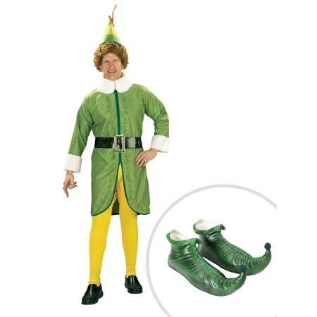 Mens Costume Shoes (Men's Buddy the Elf Costume and Adult Green Elf)