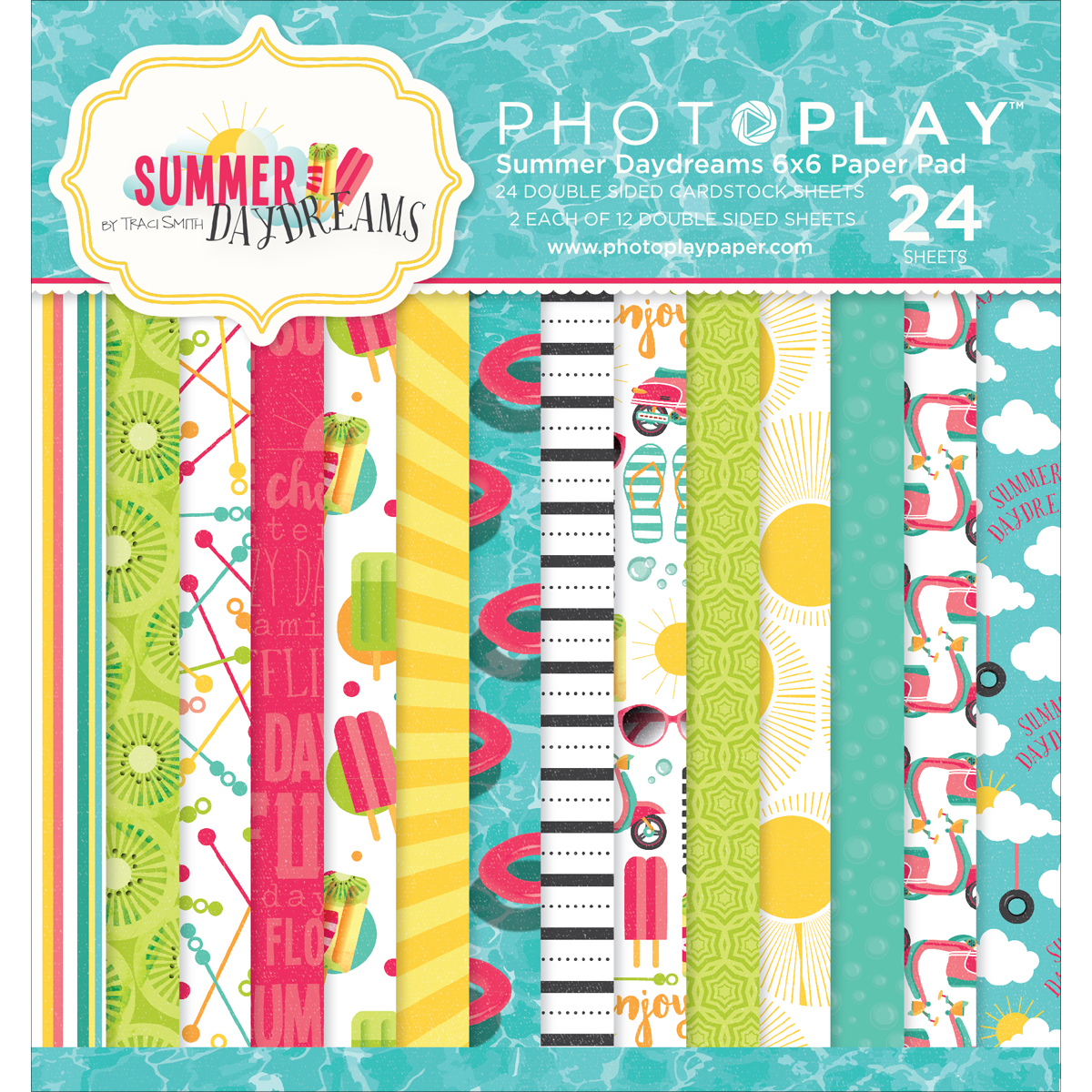 "Photo Play Double-Sided Paper Pad, 6"" x 6"", 24pk, Summer Daydreams, 12 Designs/2 Each"