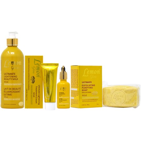 Lemon Glow Package II (Lotion 16.8oz + Soap 7oz + Cream 1.7oz + Serum (Lemon Skin Lightening Serum)