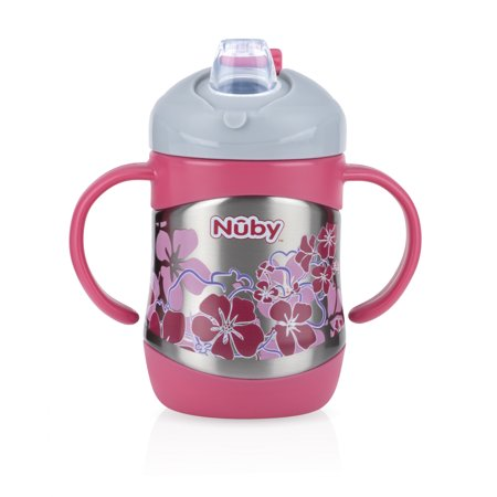 Nuby 2 Handle Stainless Steel Cup with No Spill Soft Spout, Pink
