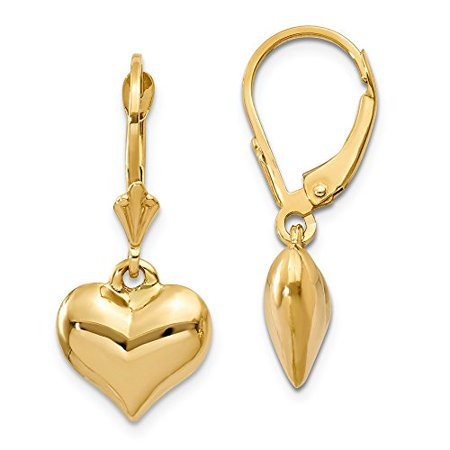 14K Yellow Gold Puffed Heart Dangle Lever back Earrings