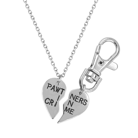 Lux Accessories PAWtners In Crime Partners Best Friends BFF Pendant Necklace Matching Dog Tag Collar