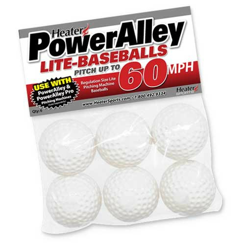 Heater Sports Baseballs Lite - Power Alley 60 MPH - Pack Of 6