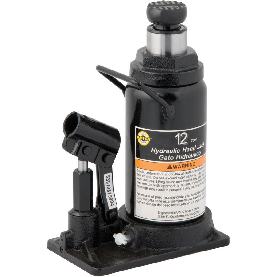 Omega 10120 Black Hydraulic In-Line Bottle Jack, 12 Ton Capacity