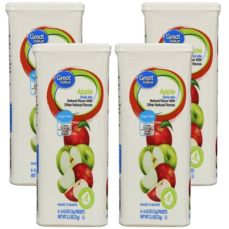 (12 Pack) Great Value Drink Mix, Sugar Free, Apple, 2.5 oz, 6 Count