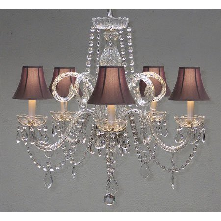 Swarovski Crystal Trimmed Chandelier! Crystal Chandelier And Black Shades H25 W24