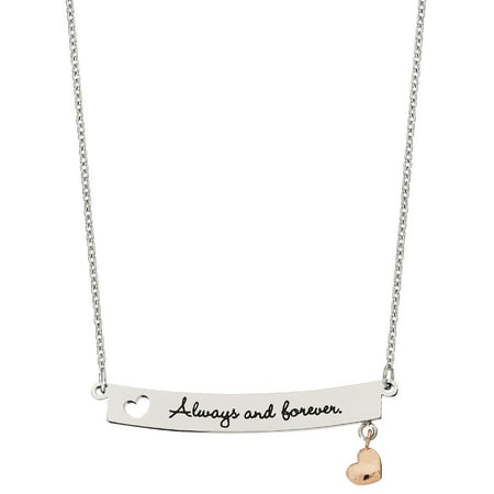 Stainless Steel Always & Forever Bar with Heart Charm Pendant, 18