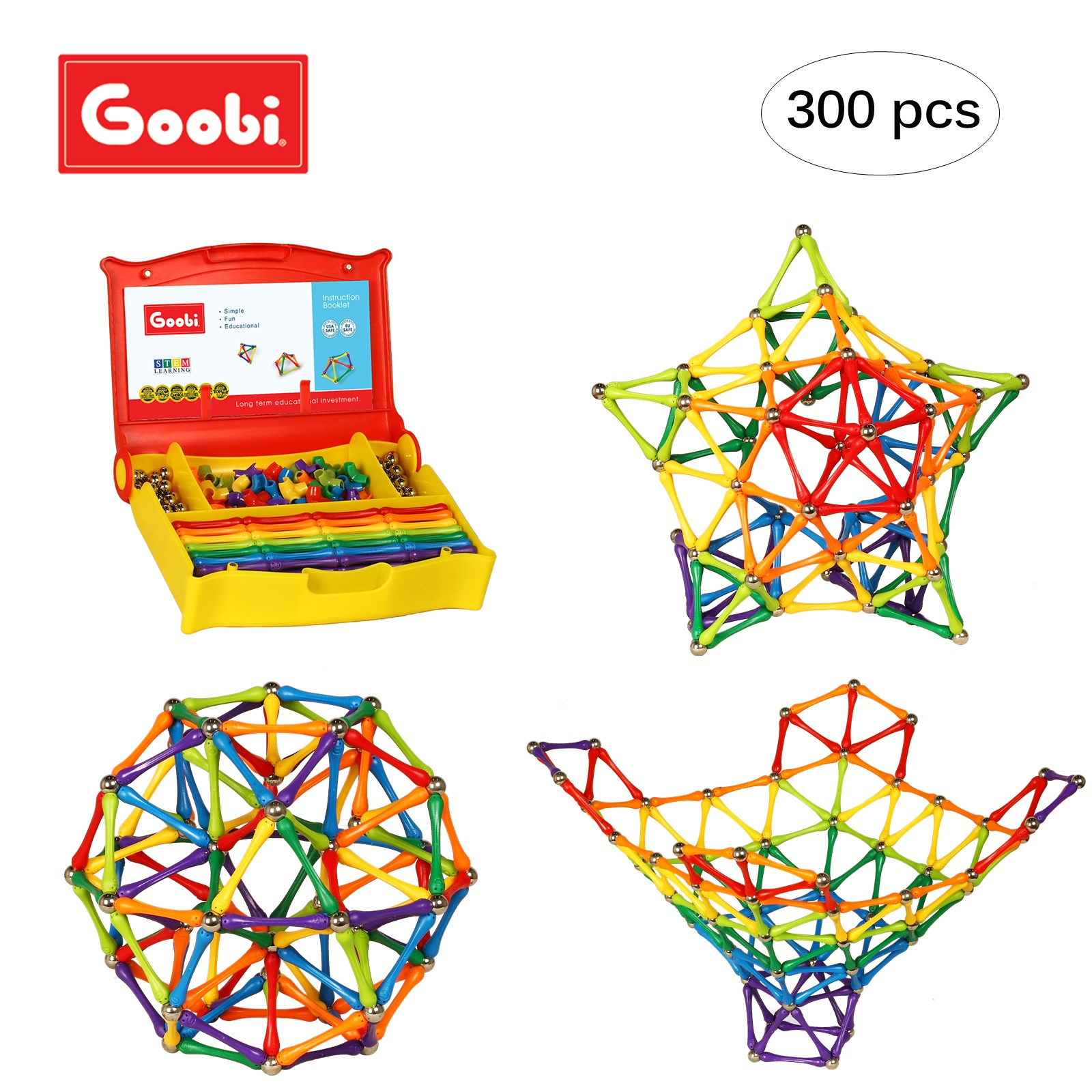 Goobi 300 Piece Construction Set Building Toy Active Play Sticks STEM Learning Creativity IMagination... by Goobi