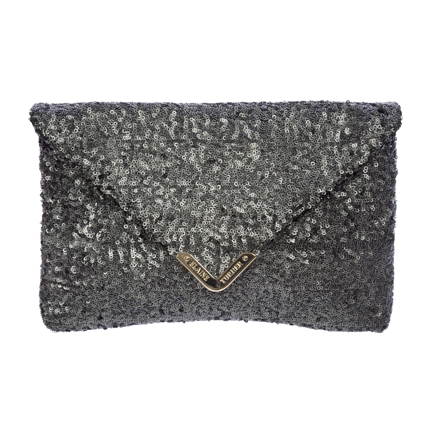 Elaine Turner Women's Sequined Bella Envelope Clutch Bag One Size Steel
