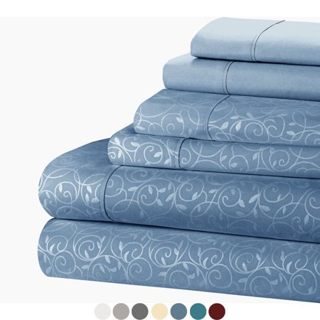 Blue Passion Vine - Luxury Embossed Vines Scrolls Soft 6-Piece Bed Sheet Set