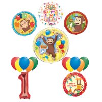 The Ultimate 16pc Curious George 1st birthday party Supplies