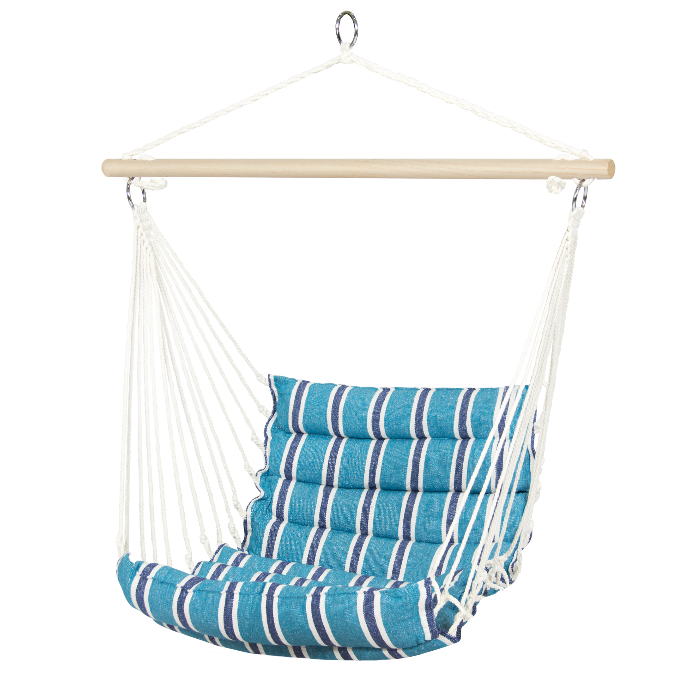 Product Image Best Choice Products Deluxe Padded Cotton Hammock Hanging Chair  Indoor Outdoor Use  Blue