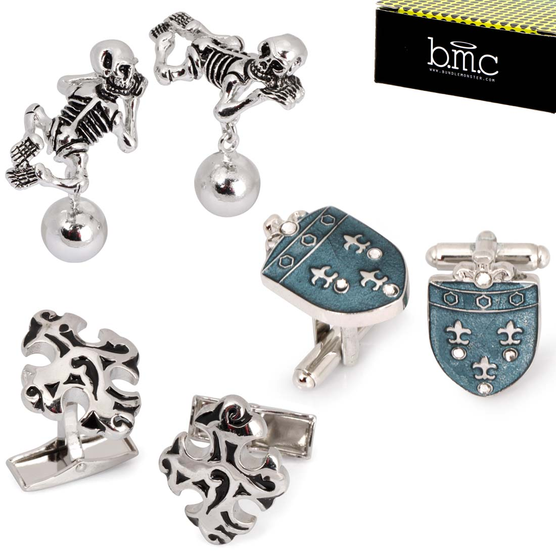 BMC 3 Pair Fun Trendy Modern Style Dress Shirt Silver Color Mens Cufflinks Set