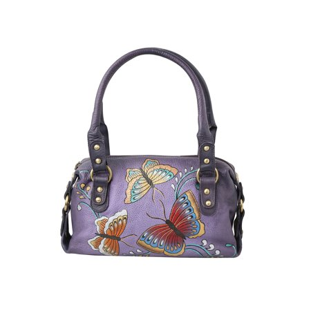 Women's Butterfly Handbag - Hand Painted Purple Leather Satchel (Painted Diamonds Bag)