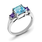 Primal Silver Sterling Silver Rhodium London Blue Topaz, Amethyst and Diamond Ring