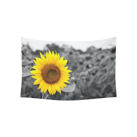 PHFZK Nature Art Home Decor Collection, a Single Sunflower Floral Tapestry Wall Hanging 40 X 60 Inches (Flora Tapestry Wall Hanging)