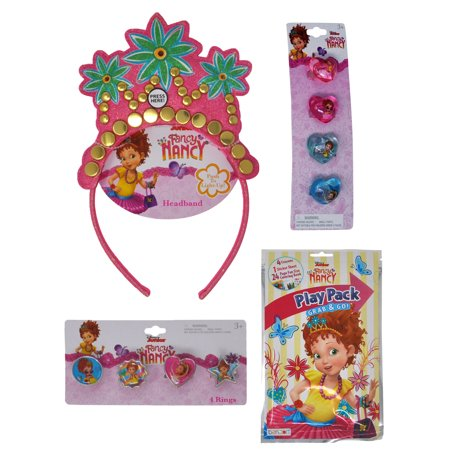 Girls Fancy Nancy Light-Up Headband Tiara, 8 Rings, and Playpack Party Favor Set