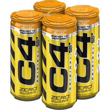C4 Original Carbonated, Pre Workout + Energy Drink, 4-16oz Cans, Tropical