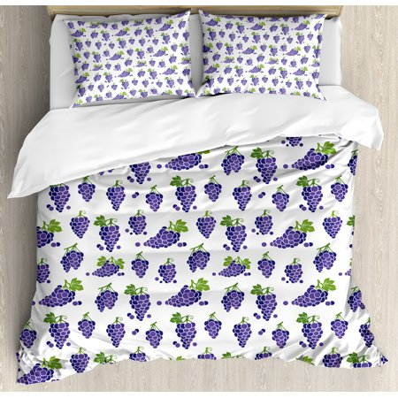 Grapes Home Decor King Size Duvet Cover Set, Cute Fruit Icons Patterned Juicy Organic Yummy Cottage Sweet Design, Decorative 3 Piece Bedding Set with 2 Pillow Shams, Purple Green, by Ambesonne