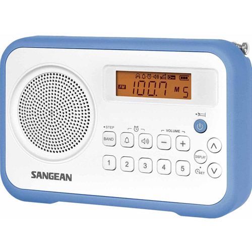Sangean PR-D18 AM/FM Digital Portable Receiver with Alarm Clock, Blue