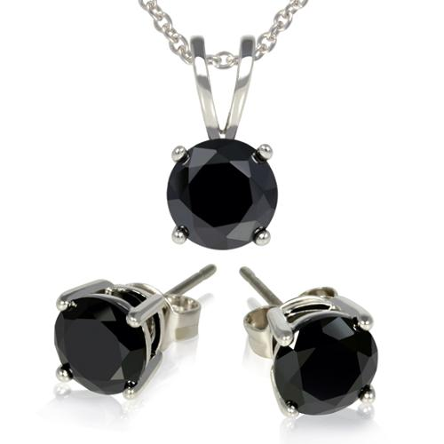 3-Piece Set: 3 Carat Total Weight Black Cubic Zirconia Necklace & Earrings Set