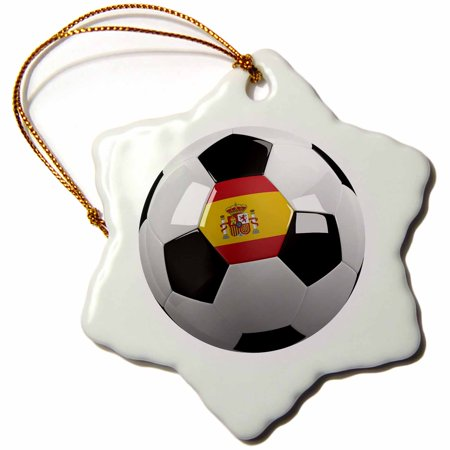 3dRose Soccer ball with the national flag of Spain on it Spanish, Snowflake Ornament, Porcelain, 3-inch