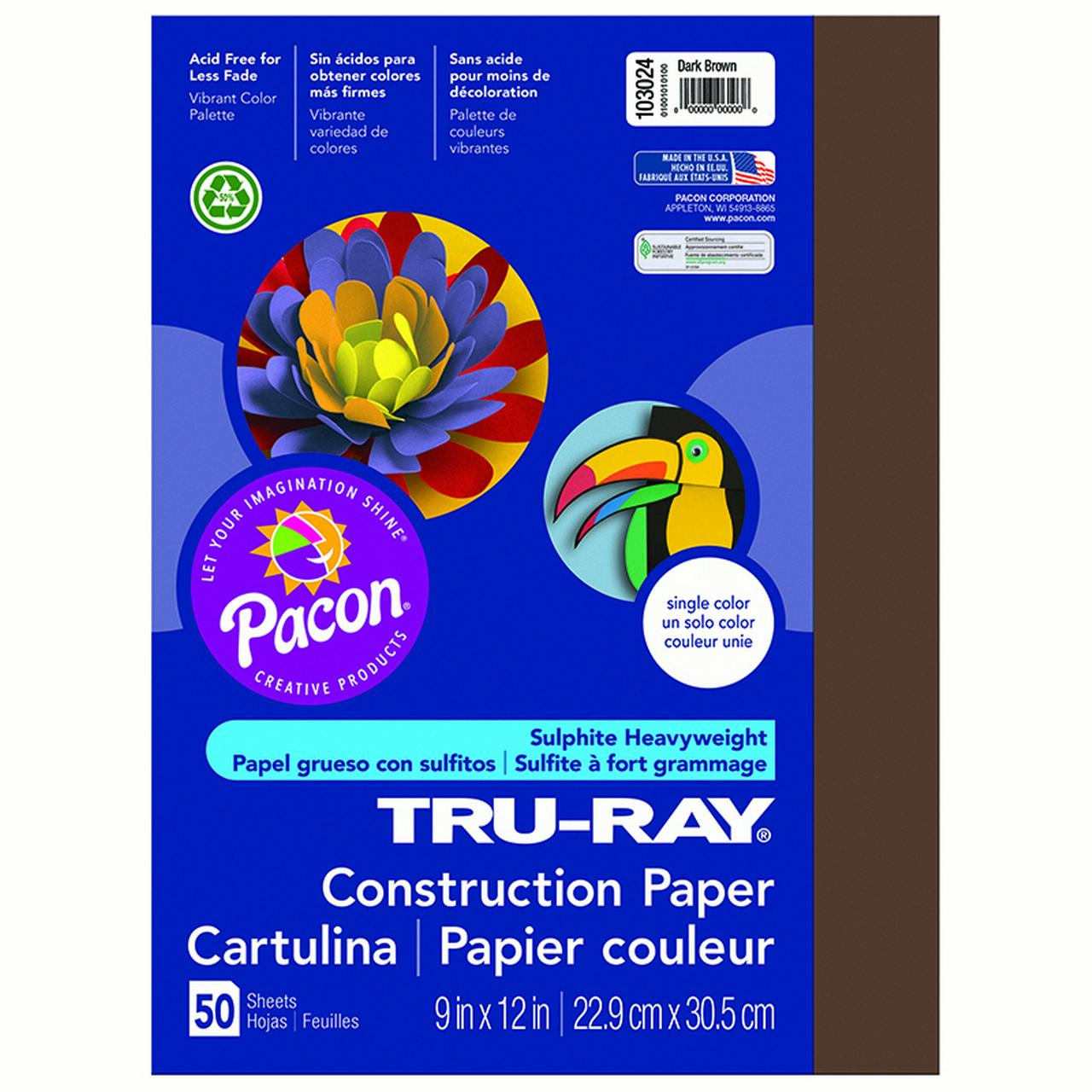 TRU RAY 9 X 12 DARK BROWN 50 SHT CONSTRUCTION PAPER