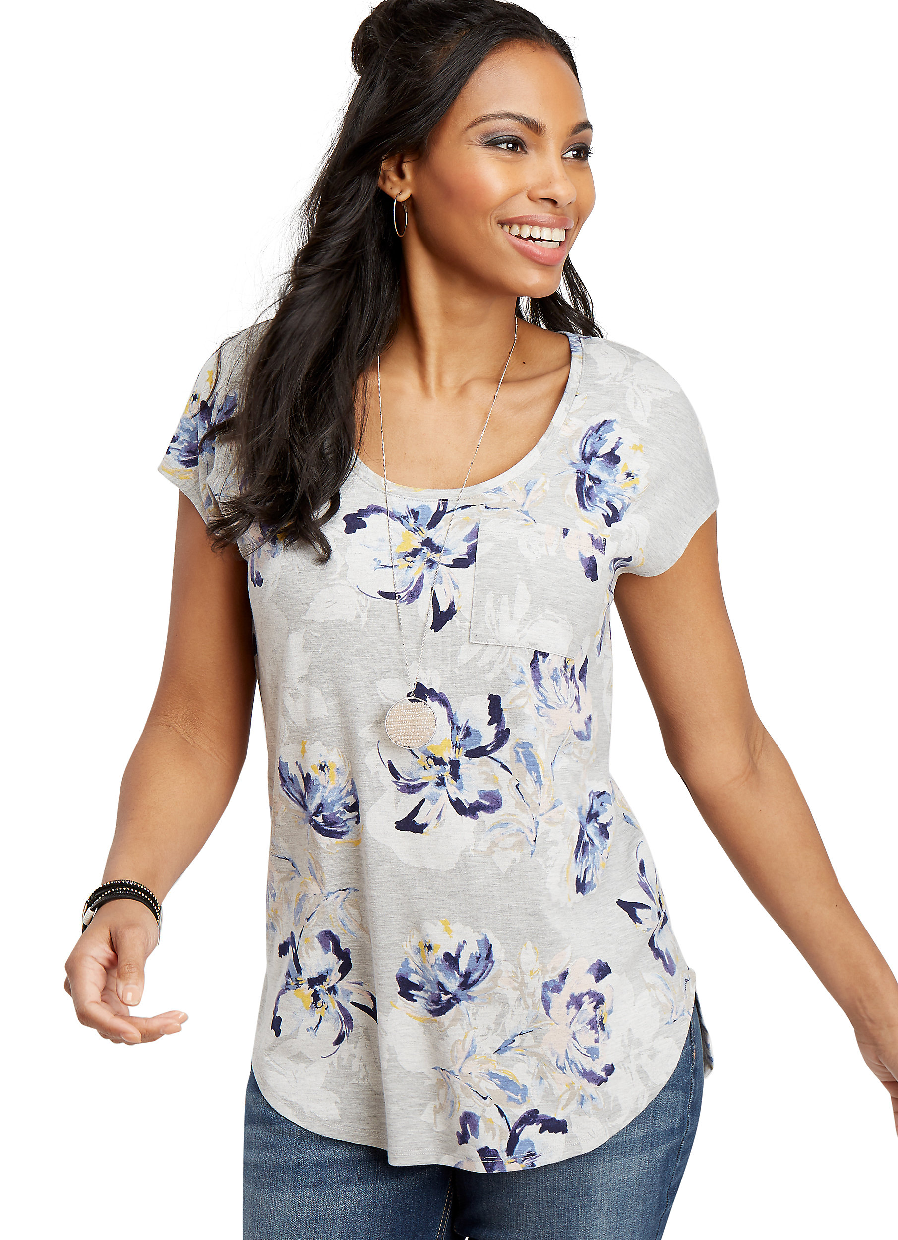 Maurices Women's 24/7 Floral tee - Heather Gray Dolman Shirt