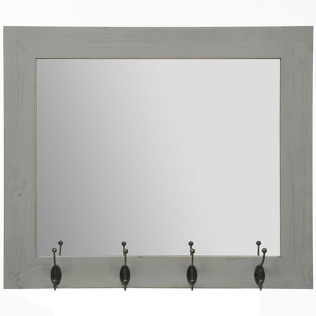 Rustic Gray Entryway Wall Mount Mirror with Hooks 17