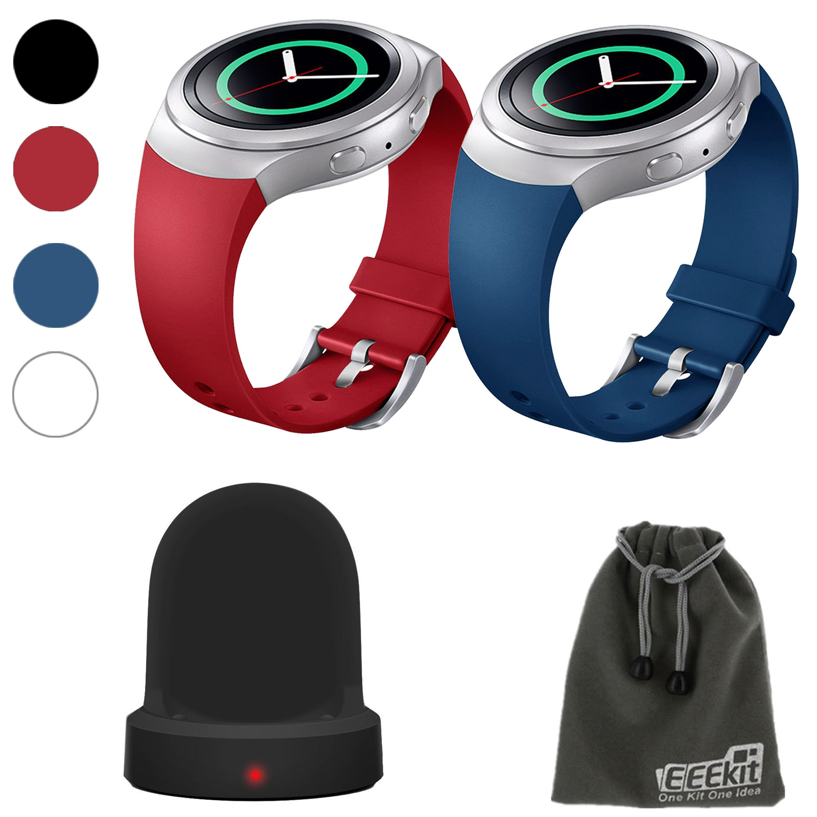 EEEKit 2in1Kit for Samsung Gear S2 SM R-720 Version, 2 Pcs Silicone Smart Watch Band Strap+Wireless Charger Dock Station