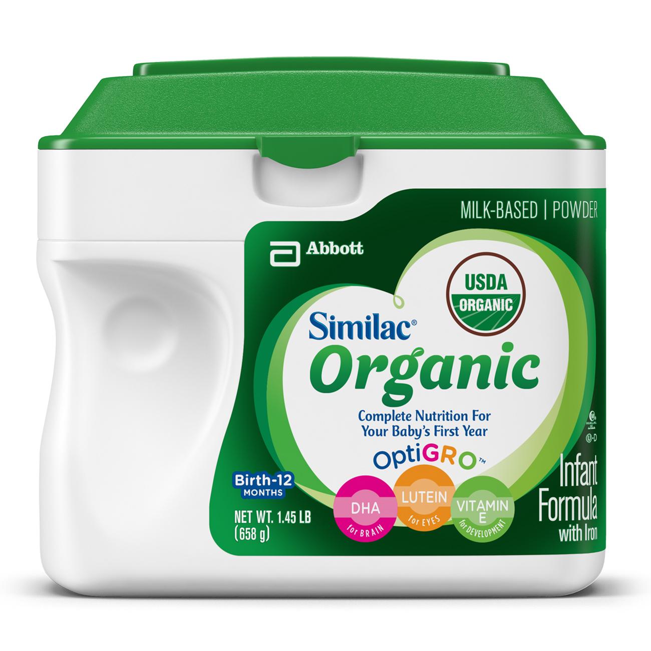 Similac Organic NON-GMO Infant Formula with Iron, Powder, 1.45 lb