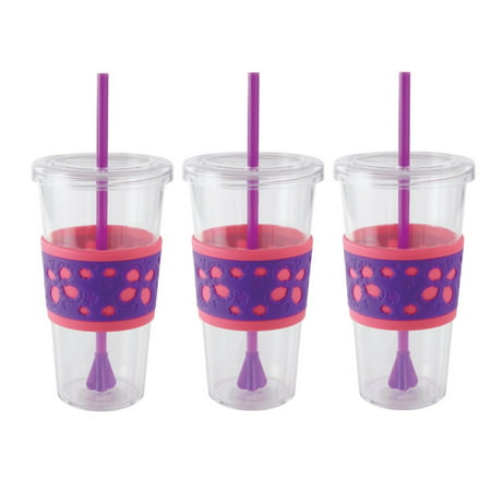 Plastic Cup With Lid And Straw (Copco Sierra On The Beach Tumbler for Cold Beverages With Spill Resistant Lid & Removable Straw - BPA Free Plastic 24 Oz - Pack Of 3 - Pink Purple)