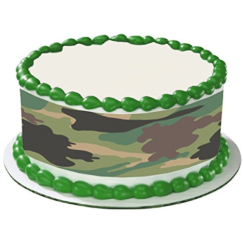 CAMO CAMOUFLAGE ARMY GREEN TRANDITIONAL HUNTING HUNTER CAKE SIDE STRIPS Cake Topper Edible Icing Image, Easy to use! Just peel backing and lay on top of.., By Whimsical Practicality
