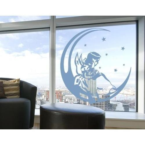 Angel On The Moon Window Glass Decal Vinyl Wall Art Home Decor Mint 31in x 31in