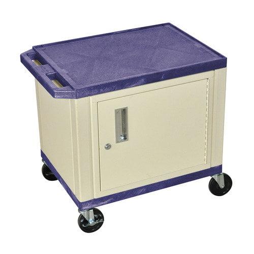 H WILSON WT26PC3E 2-Shelf AV Cart with Cabinet, Tuffy, Purple