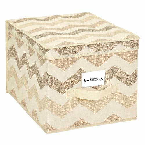 HouseCandie Large Storage Box, Textured Chevron