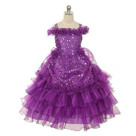 Rain Kids Girls 10 Purple Stars Print Off Shoulder Pageant - Star Dress