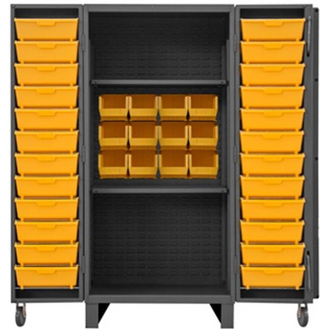 12 Gauge Recessed Door Style Lockable Cabinet with 126 Yellow Hook on Bins, Gray - 36 x 36 x 78 In.